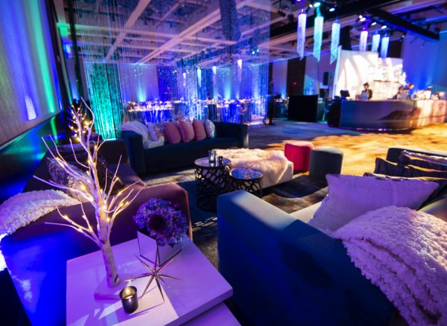 Corporate Holiday Event - Northern Reflections Theme. Color palate Green, Blue, Purple